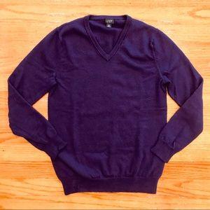 J Crew men's deep purple fine merino wool sweater